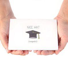 Graduation Card Congratulations Card Nice Hat Black by JulieAnnArt