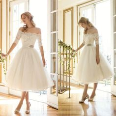 Modified A Line Wedding Dress Elegant Off The Shoulder Short Wedding Dress A Line Tea Length Lace Vintage Tulle Bridal Wedding Gowns Informal Wedding Dresses From Lenafashion, $95.29| Dhgate.Com