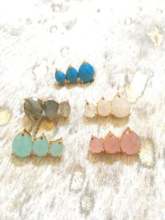 These are such a fun new trend in the earring world. Gemstone options of labradorite, moonstone, rose quartz, aqua chalcedony, or turquoise. these ear crawlers consist of 3 gemstones that crawl up your ear. Measure approximately 1.5 long and can be seen on someone in last two photos.