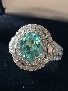 18K GOLD 4.86CT GIA CERTIFIED UNHEATED NEON PARAIBA TOURMALINE & DIAMOND RING!! #Handmade #COUTURE
