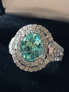 18K GOLD 4.86CT GIA CERTIFIED UNHEATED NEON PARAIBA TOURMALINE & DIAMOND RING!! #Handmade #COUTURE