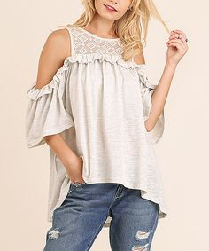 Take a look at this UMGEE U.S.A. Heather Gray Lace-Trim Ruffle Cold-Shoulder Top today!