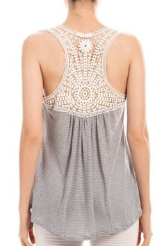 Striped Crochet Back Tank Top