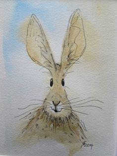 Tansy the Hare  original watercolour painting by HaresAndHerdwicks