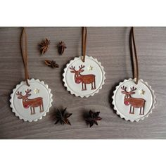 Christmas Deer Ceramic Ornaments Rudolf Holiday Pottery Winter Home... (€16) ❤ liked on Polyvore featuring home, home decor and holiday decorations