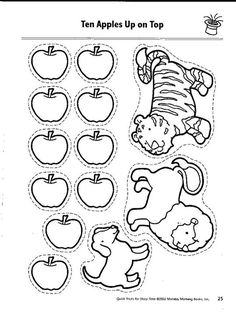 10 apples on top 12 - Ten Apples Up On Top Coloring Pages
