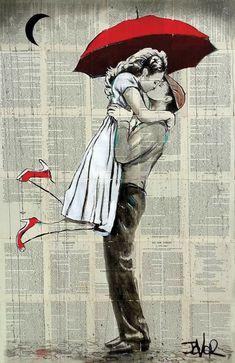 Couples Vintage, Art Romantique, Newspaper Art, Rain Art, Romance Art, Valentines Art, Couple Art, Couple Sketch, Love Art