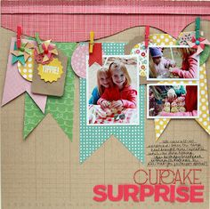 Pebbles - Davinie Fiero - Cupcake Surprise - too cute.  Love the banners and tiny clothes pins.