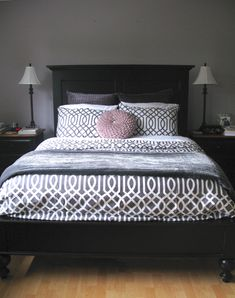 Love the color! Keep things interesting by keeping a few bright colored pillows or a blanket on the bed