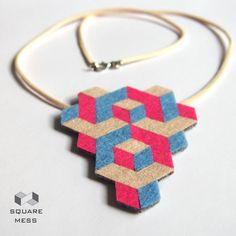 Geometric felt necklace by SquareMess