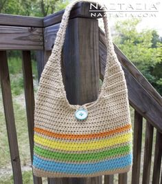 DIY Free Pattern Instructions Tutorial for Crochet Tote Handbag Purse Summer Sling Beach Bag with YouTube Video by Naztazia