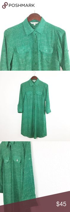 "CABI EMERALD SHIRT DRESS CAbi emerald green shirt dress. White dotted pattern. Button front. 100% polyester. Machine wash separately cold water.   Bust: 18"" Length: 38.5"" Sleeve Length: 19"" *All measurements approximate hand measurements taken laid flat, double where necessary. CAbi Dresses"