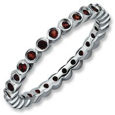 Sterling Silver Stackable Expressions Garnet Ring