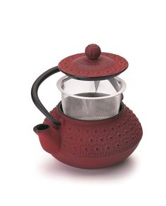 Teapot Cast Iron  0,30 Lt Red Hano -Stainless Steel Filter- Induction (In Red) - Utilinox