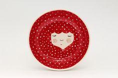 Red ceramic serving bowl  Christmas gift  door MarinskiHandmades