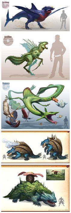 Realistic drawn pokemon and Monster Hunter style ... From arvalis ... garchomp, scyther, pidgeot, braviary, skarmory, rayquaza, emolga, talonflame, altaria, pokemon, blastoise, venusaur