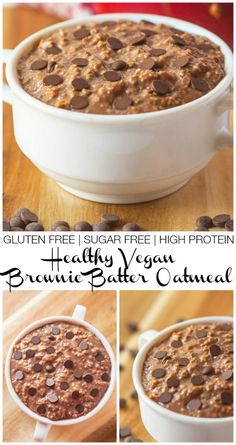 Healthy Vegan Brownie Batter Oatmeal- A quick, delicious #breakfast which has the TASTE and TEXTURE of brownie batter- #vegan #glutenfree #highprotein and with a #sugarfree option! - thebigmansworld.com