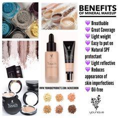 ⁉️ Did you know that there are actually tons of benefits of mineral makeup? If you've never worn mineral based cosmetics, you might not know about all of the benefits of mineral makeup that actually work! Whether it is the fact that this makeup is breathable or that it reflects lights, the advantages are endless. So girls, lets explore the benefits of mineral makeup: Breathable (light and airy leaving your pores unclogged) Great Coverage (provides amazing coverage over any redness…