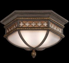 Fine Art Lamps Chateau Outdoor Two-Light Outdoor Flush Mount Finish in Variegated Rich Umber Patina Brass - Antique/Satin, Transitional Outdoor Ceiling Lights, Outdoor Lighting, Ceiling Lighting, Outdoor Flush Mounts, Antique Glass, Home Lighting, Glass Shades, Fine Art, Gold Accents