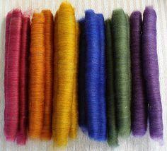 Rolag Rainbow  BFL/Silk  Spinning Rolags 3.7 by FriendsinFiber, $23.00