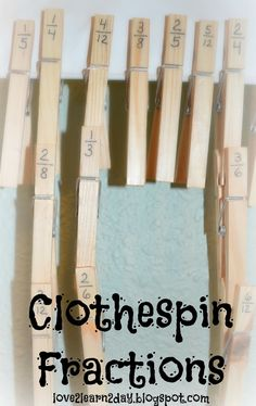 Clothespin Fractions - order and compare fractions with clothespins from the Dollar Store. CCSS Fraction Standards in Grades 3 & Great for working with fractions on a timeline. Comparing Fractions, Teaching Fractions, Teaching Math, Equivalent Fractions, Teaching Ideas, Ordering Fractions, 4th Grade Fractions, Fourth Grade Math, Third Grade