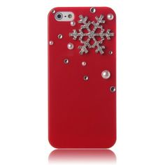 ArmyBee inc(TM) Apple iPhone 5 5S Case 3D Bling Crystal Christmas Winter Pearl Snowflake Red Design Case Cover (Fits: Apple iPhone 5 And the New 5S, Package includes: 1 X ArmyBee(TM) Screen Protector)