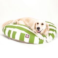 Let your dog snuggle up indoors or outside on the Majestic Round Dog Bed Vertical Stripe.