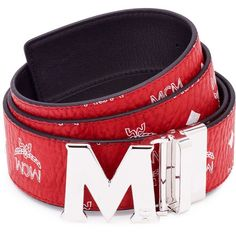 """MCM Claus Reversible Belt 1.75"""""""" In Visetos ($295) ❤ liked on Polyvore featuring men's fashion, men's accessories, men's belts, men's reversible belt, mens leather accessories, mens real leather belts, men's reversible leather belt and mens leather belts"""