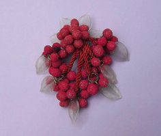 Early Miriam Haskell 4 1/2 RED SUGAR GLASS Berry Dangles