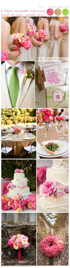 pink and green! This is the color scheme I would go with being in a barn setting... pink green and a tan...