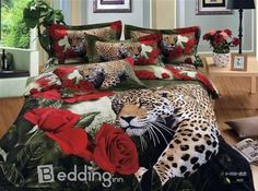 Lt Queen King Size Cotton Fitted Sheet Set with Rubber Around Red Roses Leopard Animal Flowers Floral Prints Duvet Cover Set/bed Linens/bed Sheet Sets/bedclothes/bedding Sets/bed Sets/bed Comforter Sets/bed in a Bag (Queen, without comforter) 3d Bedding Sets, Red Bedding, Duvet Bedding, Comforter Sets, Luxury Bedding, King Duvet, Queen Duvet, Comforter Cover, Bed Duvet Covers