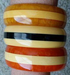 Striped vintage bakelite bracelets.