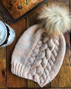 The Vanessa // Braided Tres Cable Beanie in 100 Percent Crochet Beanie Hat, Beanie Pattern, Knitted Headband, Knitted Hats, Knit Crochet, Crochet Hats, Faux Fur Pom Pom, Pom Pom Hat, Hand Knitting