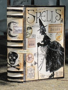 Large Vintage Paper Mache Halloween Witch's Book of SPELLS Box Painted WITCH on Etsy, $35.00