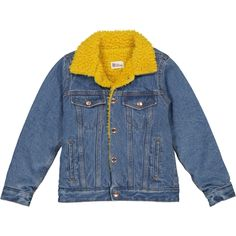 Sherpa Denim Jacket with sunshine yellow lining - New Arrivals - Shop