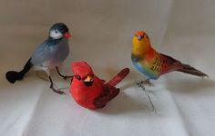 3 Vintage Spun Cotton Birds Decoration Ornaments