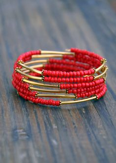 Red & Gold Bar Boho Wrap Bracelet