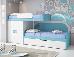 Dormitorio Tren compuesto de dos camas de 90x190+cama nido, un armario block de 2 puertas, una escalera metálica y un quitamiedos. Disponible en una gran gama de colores y de acabados. Somieres, colchones y elementos decorativos no incluidos.