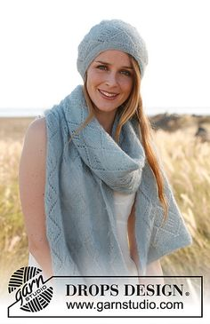 Ravelry: 148-18 Scarf and hat with lace pattern in Kid-Silk pattern by DROPS design