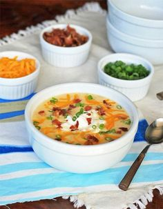 Loaded Bacon and Cheddar Baked Potato Soup is for fans of loaded baked potatoes. This gluten free easy soup recipe is super tasty. Soup Recipes, Dinner Recipes, Cooking Recipes, Yummy Recipes, Free Recipes, Dinner Ideas, Recipies, Sunday Recipes, Amazing Recipes