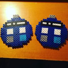 I made a Dr. Who tardis Christmas ornament out of Perler Beads for ...