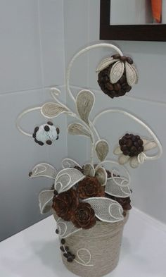 This post was discovered by Ир Burlap Crafts, Diy Home Crafts, Sewing Crafts, Arts And Crafts, Diy Embroidery Flowers, Coffee Bean Art, Jute Flowers, Coffee Crafts, Yarn Ball