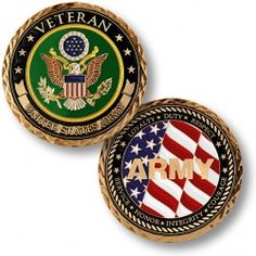 """NEW Veteran - U. """"Veteran - U. This coin salutes the integrity, bravery, and heroic service of all Army veterans throughout America's history. Veterans United, Hologram Stickers, Military Veterans, Military Life, Army Life, Coins For Sale, Fallen Heroes, Challenge Coins, United States Army"""