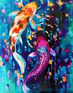 Original oil painting of koi fish, Koi Painting, Oil Painting Texture, Oil Painting On Canvas, Canvas Art, Painting Trees, Painting People, Painting Flowers, Koi Fish Drawing, Fish Drawings