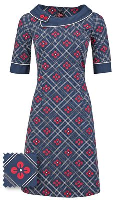 05ffe21d93a5a7 Tante Betsy viola dress navy blue red and white print jurk bloemenprint  donkerblauw rood en wit