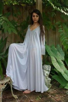 343a142ca3c10b Peasant Sleeve Nightgown Long Sleeve Full Swing Gray Nylon Jane Austen  Sleepwear Lingerie Honeymoon