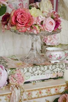 Shabby Chic.  Idea for my cake stand when not in use.