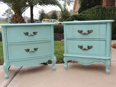 French Turquoise Nightstands http://thepaintedtableboutique.blogspot.com