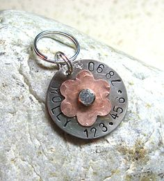 Pet Tag  Dog ID Tag  The Copper Flower Tag by ziggystoocooltags, $12.99
