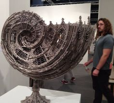 Amazingly intricate laser-cut gothic stainless steel nautilus shell by Artist Wim Delvoye. Sculpture Metal, Laser Cut Steel, Nautilus Shell, Digital Fabrication, Steel Art, Installation Art, Oeuvre D'art, Laser Cutting, Les Oeuvres